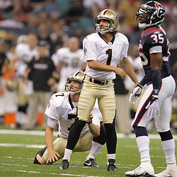 2008 August 16: New Orleans Saints kicker, Martin Gramatica watches as his 25-yard field goal sails through the uprights to give the Saints an early first quarter lead. The New Orleans Saints went on to lose the preseason match up 31-27 against the Houston Texans at the Louisiana Superdome in New Orleans, LA. .