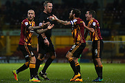 Bradford City players argue with tonights referee Christopher Sarginson about a penalty decision during the EFL Sky Bet League 1 match between Bradford City and Northampton Town at the Coral Windows Stadium, Bradford, England on 22 November 2016. Photo by Simon Davies.