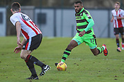 Forest Green Rovers Dan Wishart(17) runs forward during the The Central League match between Cheltenham Town Reserves and Forest Green Rovers Reserves at The Energy Check Training Ground, Cheltenham, United Kingdom on 28 November 2017. Photo by Shane Healey.