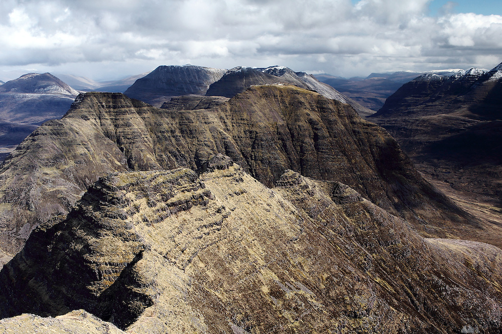 View from Sgurr Mor, one of the munro peaks of Beinn Alligin, near Torridon in the north-west Highlands of Scotland. The ridge in the foreground makes up the Horns of Alligin.