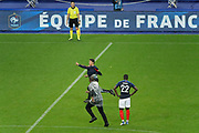 Introduction of young France's team supporter on the playground at first half time and the secrurity are running over the grass, Benjamin MENDY (FRA) during the FIFA Friendly Game football match between France and Republic of Ireland on May 28, 2018 at Stade de France in Saint-Denis near Paris, France - Photo Stephane Allaman / ProSportsImages / DPPI
