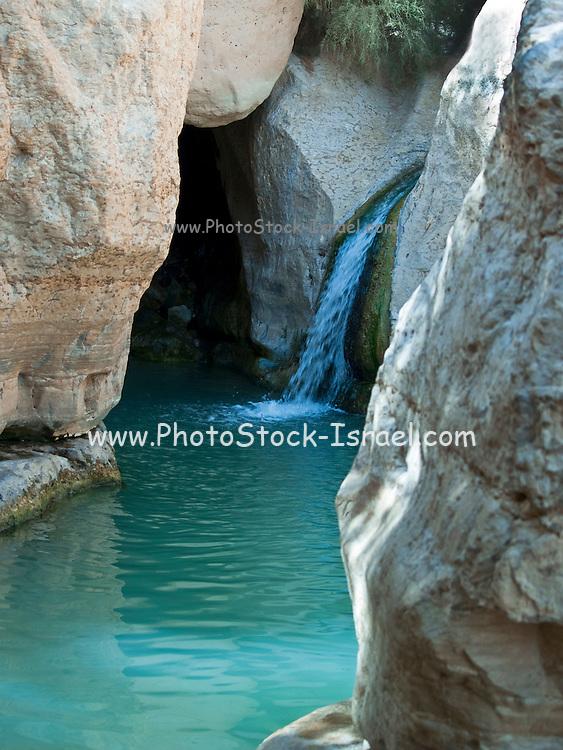 Israel, Dead Sea, Ein Gedi national park, waterfall in Wadi Arugot