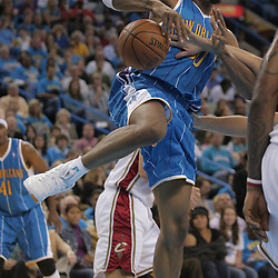 01 November 2008:  New Orleans Hornets forward David West (30) has the ball knocked away by a Cleveland Cavaliers defender during a 104-92 win by the New Orleans Hornets over the Cleveland Cavaliers at the New Orleans Arena in New Orleans, LA..