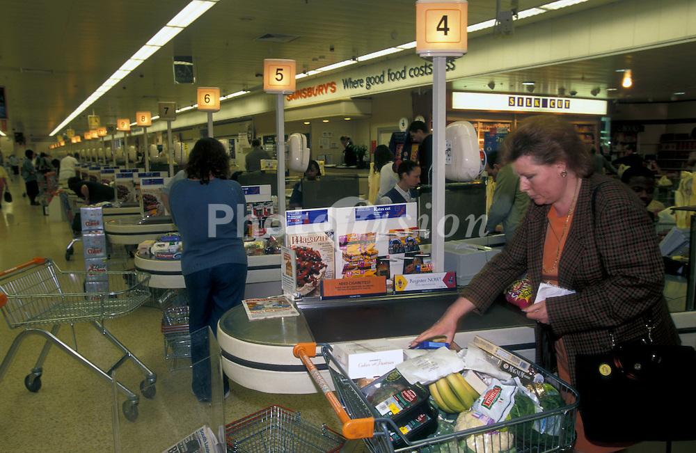 Sainsbury's supermarket checkout counter; South London