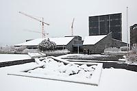 Seðlabanki Íslands, The Icelandic Central Bank in Reykjavik. Winter and snow.