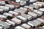 Aerial photograph of Mobile Home Park,  neighborhood, housing developments,