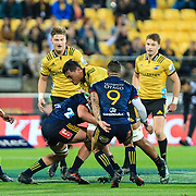 Julian Savea tackled during the super rugby union  game between Hurricanes  and Highlanders, played at Westpac Stadium, Wellington, New Zealand on 24 March 2018.  Hurricanes won 29-12.