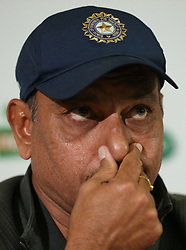 Ravi Shastri speaks to assembled media during the nets session at The Kia Oval, London.