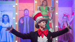 """© Licensed to London News Pictures. 23/11/2018. LONDON, UK. Mark Pickering as Cat in the Hat performs during the photocall for Immersion Theatre's performance of """"Seussical the Musical"""" at Southwark Playhouse.  Shows take place 22 November to 29 December 2018.  Directed by James Tobias, the fantastical world of Dr. Seuss is brought to life in a musical co-conceived by Monty Python's Eric Idle.  Photo credit: Stephen Chung/LNP"""