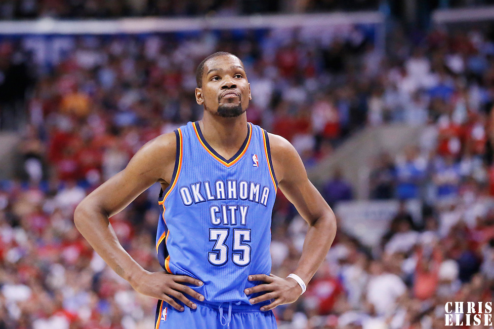 11 May 2014: Oklahoma City Thunder forward Kevin Durant (35) looks dejected during the Los Angeles Clippers 101-99 victory over the Oklahoma City Thunder, during Game Four of the Western Conference Semifinals of the NBA Playoffs, at the Staples Center, Los Angeles, California, USA.