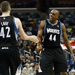 February 7, 2011; New Orleans, LA, USA; Minnesota Timberwolves center Anthony Tolliver (44) and power forward Kevin Love (42) celebrate during the second quarter of a game against the New Orleans Hornets at the New Orleans Arena.   Mandatory Credit: Derick E. Hingle