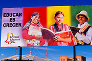 BOLIVIA, LA PAZ, EDUCATION billboard sign stressing importance of learning to read for children and adults