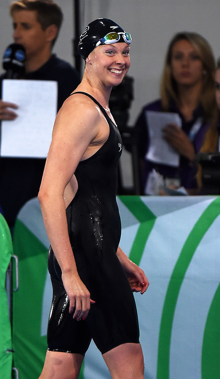 New Zealand's Lauren Boyle who won a gold medal in the Womens 400m Freestyle Final. Glasgow 2014 Commonwealth Games. Swimming, The Clyde Auditorium, Glasgow, Scotland. Tuesday 29 July 2014. Photo: Andrew Cornaga / photosport.co.nz