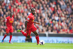 LIVERPOOL, ENGLAND - Saturday, October 5, 2013: Liverpool's Victor Moses in action against Crystal Palace during the Premiership match at Anfield. (Pic by David Rawcliffe/Propaganda)