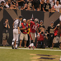 2008 September 7: Tampa Bay Buccaneers wide receiver Ike Hilliard (19) celebrates after scoring a touchdown against the New Orleans Saints at the Louisiana Superdome in New Orleans, LA.  The New Orleans Saints (1-0) defeated the Tampa Bay Buccaneers (0-1) 24-20.