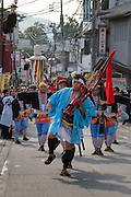 Dancer reenact the Feudal Lord procession to Edo (modern day Tokyo)  at the Summer festival or matsuri in Matsuda, Kanagawa, Japan. Saturday August 22nd 2015