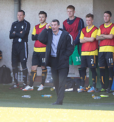 Alloa Athletic's manager Barry Smith.<br /> Alloa Athletic 2 v 1 Hibernian, Scottish Championship game played 30/8/2014 at Alloa Athletic's home ground, Recreation Park, Alloa.