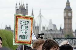 © Licensed to London News Pictures. 18/05/2013. London, UK. Protestors in central London march to Westminster & Downing Street against the Government's changes to the Health Service and planned closures to services across London.   Backed by Unite the Union, the Save Lewisham Hospital Campaign and MPs including Andy Slaughter and Steve Pound. Photo credit : Richard Isaac/LNP