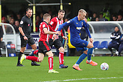 AFC Wimbledon striker Joe Pigott (39) dribbling during the EFL Sky Bet League 1 match between AFC Wimbledon and Lincoln City at the Cherry Red Records Stadium, Kingston, England on 2 November 2019.