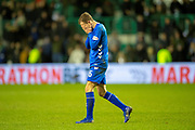 Andy Halliday (#16) of Rangers FC has his head in his hands after seeing his shot go wide in injury time during the Ladbrokes Scottish Premiership match between Hibernian and Rangers at Easter Road, Edinburgh, Scotland on 8 March 2019.