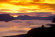 Image of the Crown Point Vista House overlooking the Columbia River Gorge at sunrise, Oregon, Pacific Northwest