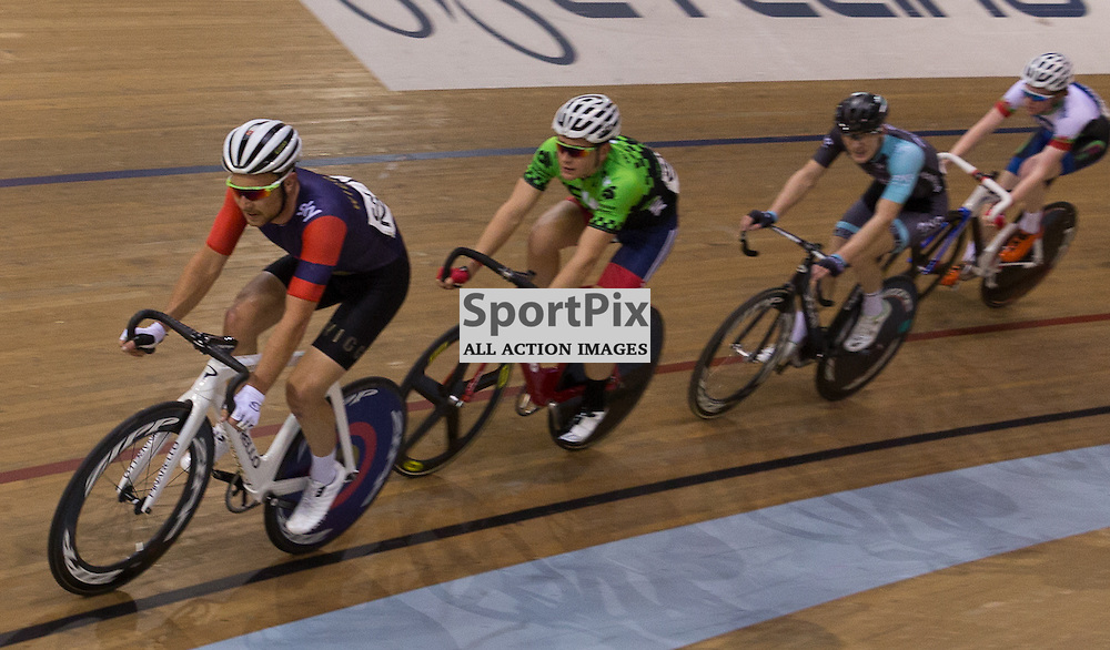 Owain Doull (Team Wiggins) leader out the other riders during the Elite Championship - Points Race - Men. Revolution 55 Track Cycling Glasgow, 28th November 2015