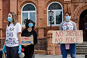 No justice no peace sign outside the Redhouse during the Black Lives Matter Protest in Merthyr Tydfil, Wales on 7 June 2020.