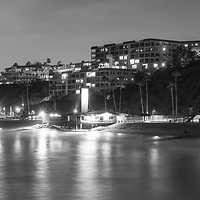 Black and white photo of the San Clemente California skyline at night. San Clemente is a popular beach city in Orange County California in the United States of America. Copyright ⓒ 2017 Paul Velgos with All Rights Reserved.
