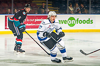 KELOWNA, CANADA - NOVEMBER 23:  Phillip Schultz #27 of the Victoria Royals skates against Kelowna Rockets on November 23, 2018 at Prospera Place in Kelowna, British Columbia, Canada.  (Photo by Marissa Baecker/Shoot the Breeze)
