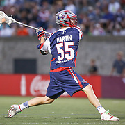Eric Martin #55 of the Boston Cannons shoots the ball during the game at Harvard Stadium on August 9, 2014 in Boston, Massachusetts. (Photo by Elan Kawesch)