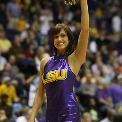 14 February 2009 A LSU Tiger Girl dancer performs during 73-66 win by the LSU Tigers against SEC rival the Ole Miss Rebels at the Pete Maravich Assembly Center in Baton Rouge, LA.