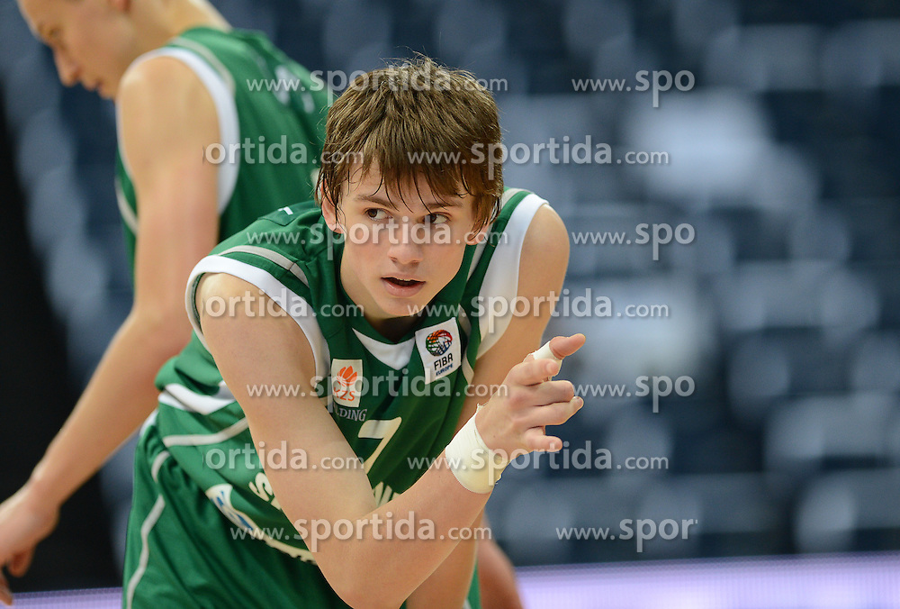 Aljaz Slutej of Slovenia during basketball match between National teams of Serbia and Slovenia in Division A of U16 Men European Championship Lithuania 2012, on July 21, 2012 in Panevezys, Lithuania. (Photo by Robertas Dackus / Sportida.com)