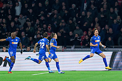 Jaime Mata #7 of Getafe celebrate after first score during the Europa League match R32 second leg between Ajax and Getafe at Johan Cruyff Arena on February 27, 2020 in Amsterdam, Netherlands