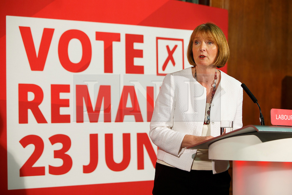 © Licensed to London News Pictures. 24/05/2016. London, UK. Labour Party's  prominent female figureheads former Labour leader HARRIET HARMAN speaks to set out why women are better off in European Union at Church House in London on Tuesday, 24 May 2016. Photo credit: Tolga Akmen/LNP