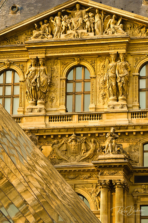 Louvre Palace and Pyramid detail, Louvre Museum, Paris, France