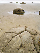 View of the Moeraki Boulders, near Moeraki, Otago, New Zealand.  The Moeraki Boulders are naturally formed septarian concretions, on the Koekohe Beach, between Moeraki and Hampden.