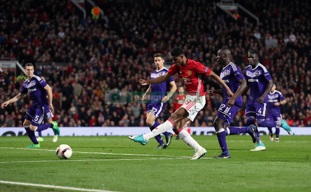 Manchester United's Marcus Rashford misses a chance to score during the UEFA Europa League, Quarter Final match at Old Trafford, Manchester.