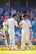 Ross Taylor of the New Zealand Black Caps celebrates his double century with Doug Bracewell of the New Zealand Black Caps  during Day 3 on the 15th of November 2015. The New Zealand Black Caps tour of Australia, 2nd test at the WACA ground in Perth, 13 - 17th of November 2015.   Photo: Daniel Carson / www.photosport.nz