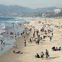 Dozens of beachgoers at Santa Monica  on Wednesday, December 28, 2010.