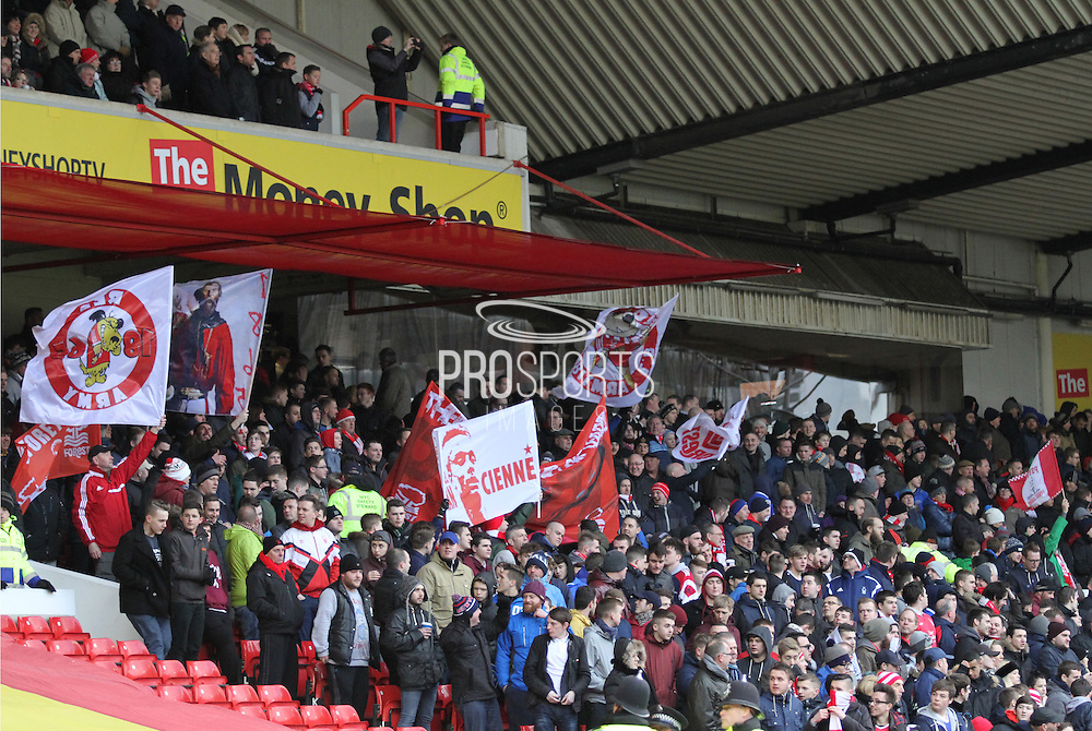 Forest fans flying their flags before the Sky Bet Championship match between Nottingham Forest and Millwall at the City Ground, Nottingham, England on 31 January 2015. Photo by Jodie Minter.