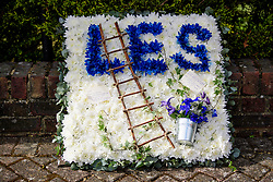 © Licensed to London News Pictures. 05/05/2017. London, UK. Flowers in the shape of a window cleaners ladder and bucket. The funeral of Westminster Terror attack victim Leslie Rhodes takes place at North East Surrey Crematorium in Morden, South London. Leslie Rhodes, who was Winston Churchill's former window cleaner, suffered serious injuries when terrorist Khalid Masood mowed down and killed 4 pedestrians on Westminster Bridge before attacking and killing a police officer with a knife.  Photo credit: Ben Cawthra/LNP