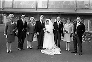 "16/09/1967<br /> 09/16/1967<br /> 16 September 1967<br /> Wedding of Mr Francis W. Moloney, 28 The Stiles Road, Clontarf and Ms Antoinette O'Carroll, ""Melrose"", Leinster Road, Rathmines at Our Lady of Refuge Church, Rathmines, with reception in Colamore Hotel, Coliemore Road, Dalkey. Image shows the Bride and Groom with Groom's party."