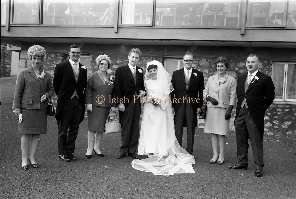16/09/1967<br /> 09/16/1967<br /> 16 September 1967<br /> Wedding of Mr Francis W. Moloney, 28 The Stiles Road, Clontarf and Ms Antoinette O'Carroll, &quot;Melrose&quot;, Leinster Road, Rathmines at Our Lady of Refuge Church, Rathmines, with reception in Colamore Hotel, Coliemore Road, Dalkey. Image shows the Bride and Groom with Groom's party.