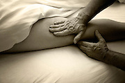 Hamstring massage during Swedish massage session