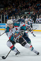 KELOWNA, CANADA -FEBRUARY 10: Damon Severson #7 of the Kelowna Rockets skates with the puck against the Seattle Thunderbirds on February 10, 2014 at Prospera Place in Kelowna, British Columbia, Canada.   (Photo by Marissa Baecker/Getty Images)  *** Local Caption *** Damon Severson;
