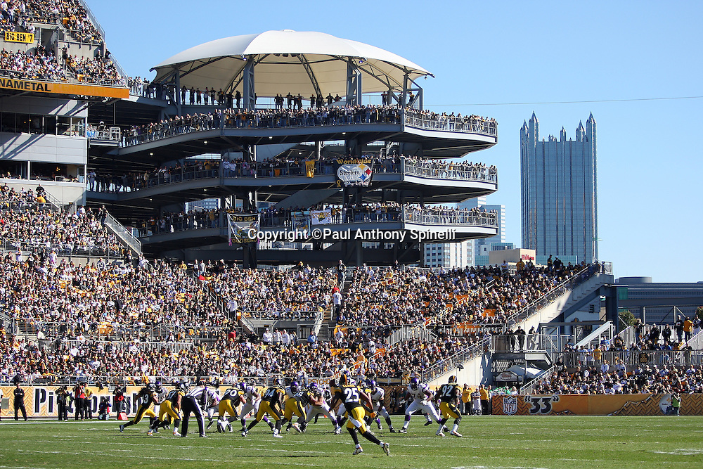 The stadium seats and city skyline frame the background in this general view of the Pittsburgh Steelers NFL football game against the Minnesota Vikings, October 25, 2009 in Pittsburgh, Pennsylvania. The Steelers won the game 27-17. (©Paul Anthony Spinelli)