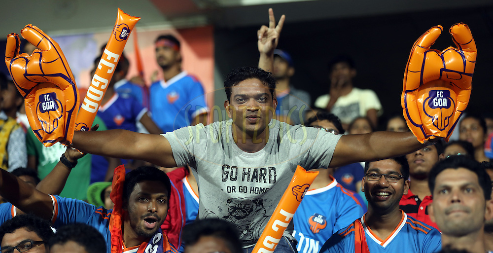 Fan's enjoy's during match 8 of the Indian Super League (ISL) season 3 between FC Goa and FC Pune City held at the Fatorda Stadium in Goa, India on the 8th October 2016.<br /> <br /> Photo by Sandeep Shetty / ISL/ SPORTZPICS