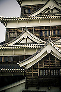 Detail view of Hiroshima Castle, Hiroshima, Japan. Originally constructed in the 1590's, the castle was destroyed in the atomic bombing in 1945.  It was rebuilt in 1958 and now serves as a museum of Hiroshima's history prior to World War II.