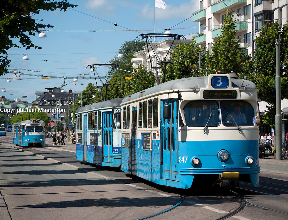 View of tram on Avenyn street of Gothenburg in Sweden Scandinavia