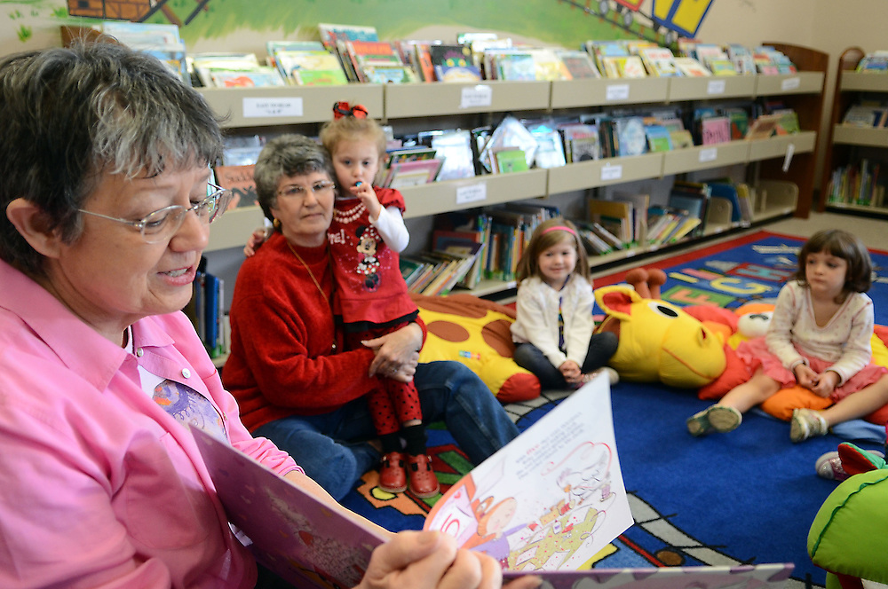 """Mary Nagurney reads """"Love, Ruby Valentine"""" during story-time on Wednesday at the Oak Grove Public Library. Bryant Hawkins/The Hattiesburg American"""